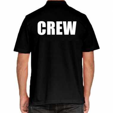 Zwart crew polo t-shirt voor heren