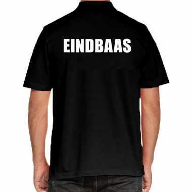 Zwart eindbaas polo t-shirt voor heren
