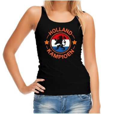 Zwart fan tanktop / kleding holland kampioen met leeuw ek/ wk voor dames