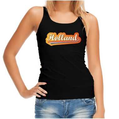 Zwart fan tanktop / kleding holland met nederlandse wimpel ek/ wk voor dames