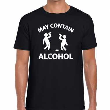 Zwart fun shirt may contain alcohol voor heren