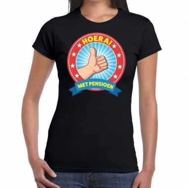 Zwart gepensioneerd fun t-shirt dames