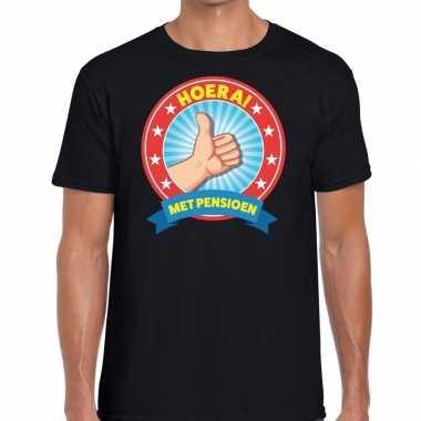 Zwart gepensioneerd fun t-shirt heren