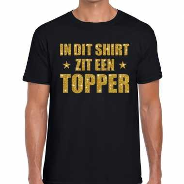 Zwart in dit shirt zit een topper fun t-shirt voor heren