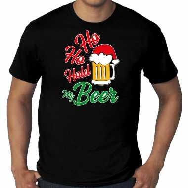 Zwart kerst shirt / kerstkleding ho ho hold my beer voor heren grote maten