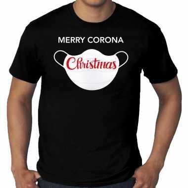 Zwart kerst shirt/ kerstkleding merry corona christmas voor heren grote maten