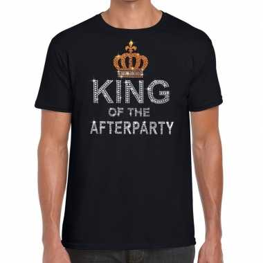 Zwart king of the afterparty glitter steentjes t-shirt heren