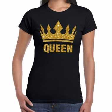 Zwart koningdag queen shirt met gouden glitters en kroon dames