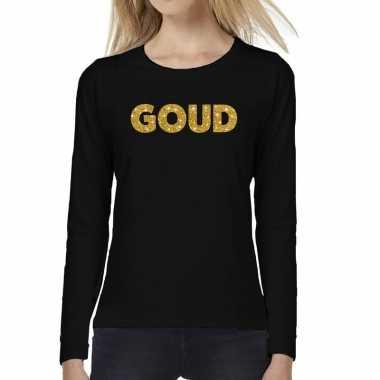 Zwart long sleeve t-shirt met goud tekst bedrukking voor dames