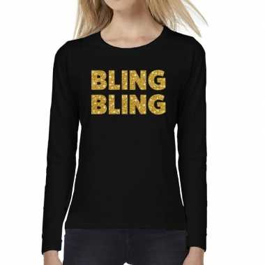 Zwart long sleeve t-shirt met gouden bling bling tekst voor dames