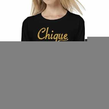 Zwart long sleeve t-shirt met gouden chique tekst voor dames