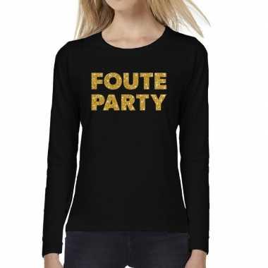 Zwart long sleeve t-shirt met gouden foute party tekst voor dames