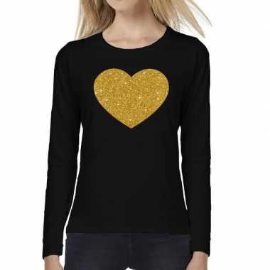 Zwart long sleeve t-shirt met gouden hart voor dames