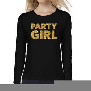 Zwart long sleeve t-shirt met gouden party girl tekst voor dames