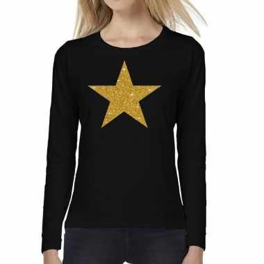 Zwart long sleeve t-shirt met gouden ster voor dames