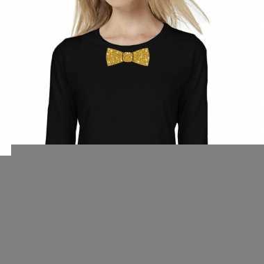Zwart long sleeve t-shirt met gouden strikdas voor dames