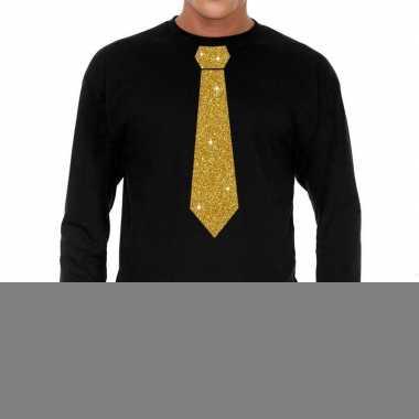 Zwart long sleeve t-shirt met gouden stropdas voor heren