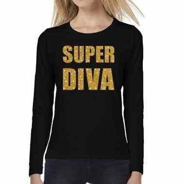 Zwart long sleeve t-shirt met gouden super diva tekst voor dames