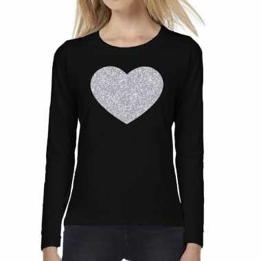 Zwart long sleeve t-shirt met zilveren hart voor dames