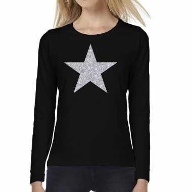 Zwart long sleeve t-shirt met zilveren ster voor dames