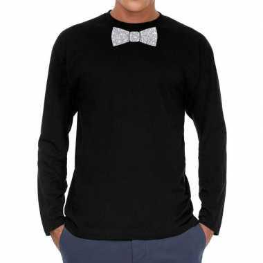 Zwart long sleeve t-shirt met zilveren strikdas voor heren