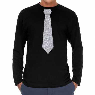 Zwart long sleeve t-shirt met zilveren stropdas voor heren