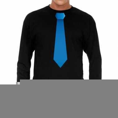 Zwart long sleeve t-shirt zwart met blauwe stropdas bedrukking heren