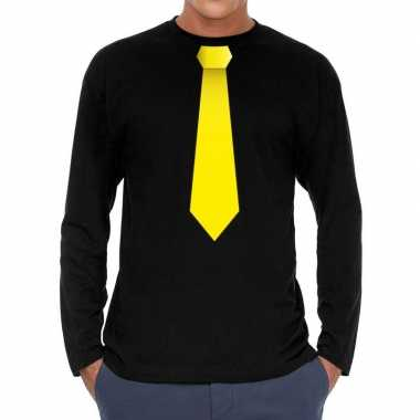 Zwart long sleeve t-shirt zwart met gele stropdas bedrukking heren