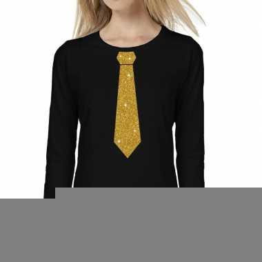 Zwart long sleeve t-shirt zwart met gouden glitter stropdas bedrukkin