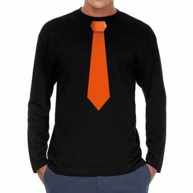 Zwart long sleeve t-shirt zwart met oranje stropdas bedrukking heren