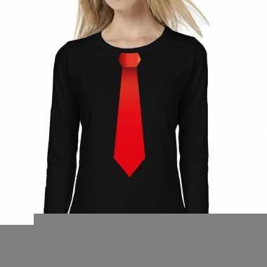 Zwart long sleeve t-shirt zwart met rode stropdas bedrukking dames
