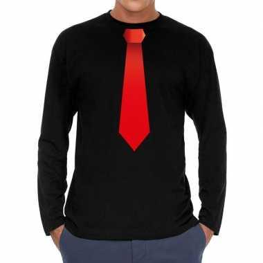 Zwart long sleeve t-shirt zwart met rode stropdas bedrukking heren