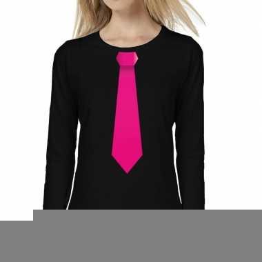 Zwart long sleeve t-shirt zwart met roze stropdas bedrukking dames