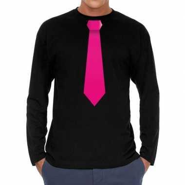 Zwart long sleeve t-shirt zwart met roze stropdas bedrukking heren