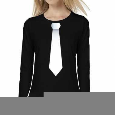 Zwart long sleeve t-shirt zwart met witte stropdas bedrukking dames