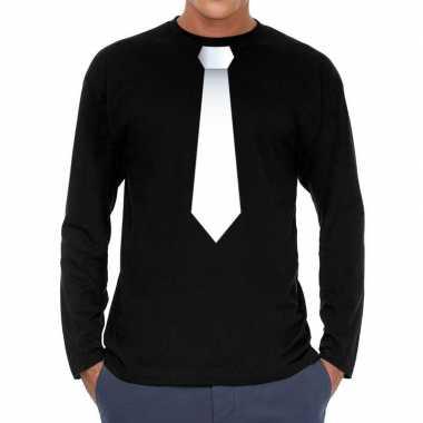 Zwart long sleeve t-shirt zwart met witte stropdas bedrukking heren