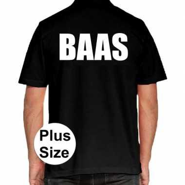 Zwart plus size baas polo t-shirt voor heren