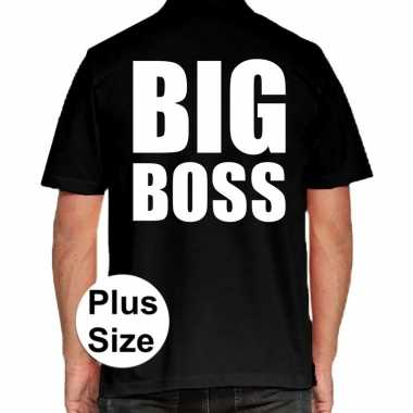 Zwart plus size big boss polo t-shirt voor heren