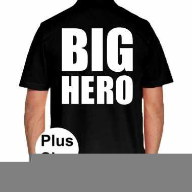 Zwart plus size big hero polo t-shirt voor heren