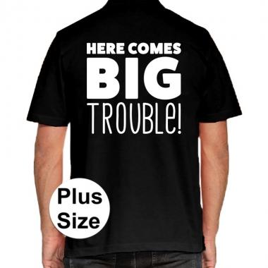 Zwart plus size here comes big trouble polo t-shirt voor heren