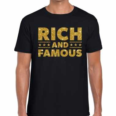 Zwart rich and famous goud fun t-shirt voor heren