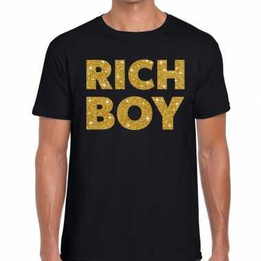 Zwart rich boy goud fun t-shirt voor heren