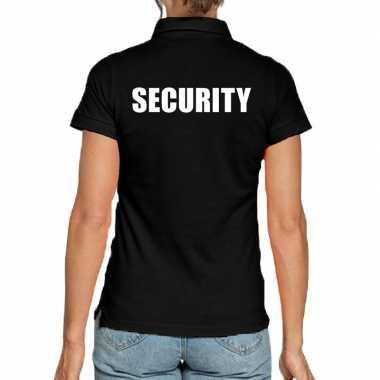 Zwart security polo t-shirt voor dames