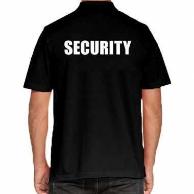 Zwart security polo t-shirt voor heren