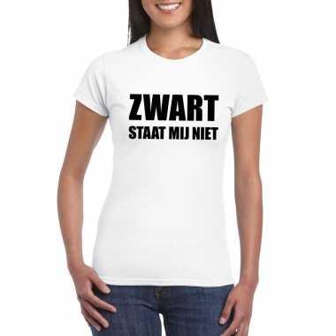 Zwart staat mij niet fun t-shirt voor dames wit
