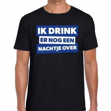 Zwart t-shirt ik drink er nog een nachtje over fun t-shirt heren