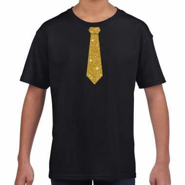 Zwart t-shirt met gouden stropdas voor kinderen
