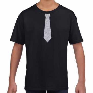 Zwart t-shirt met zilveren stropdas voor kinderen