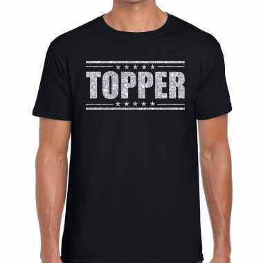 Zwart topper shirt in zilveren glitter letters heren