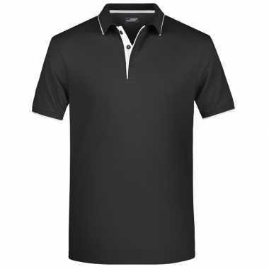 Zwart/wit premium poloshirt golf pro voor heren